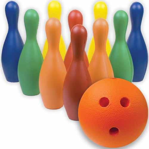 Multi-Color Foam Bowling Pin Set with Ball