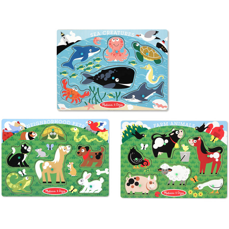 Melissa & Doug Animals Wooden Peg Puzzles Set, Farm, Pets, and Ocean by Generic