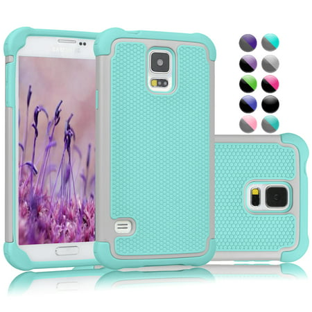 Galaxy S5 Case, Galaxy S5 Sturdy Case, Njjex [Turquoise] Rugged Rubber Shock Absorbing Plastic Hard Protective Case For Samsung Galaxy S5 S V I9600 GS5 All