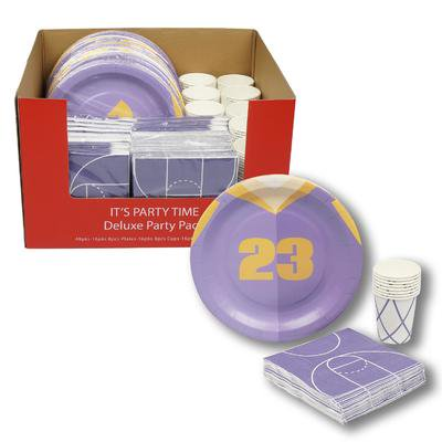 New 217404  Purple Basketball Sports Party Supplies Set (48-Pack) Cheap Wholesale Discount Bulk Stationery Small Candle Holder (Cheap Sports)