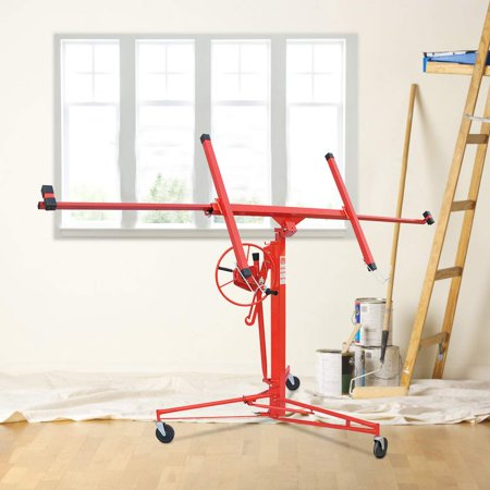 Drywall Lift Panel Hoist Dry Wall Jack Rolling Caster Lifter Construction Tool
