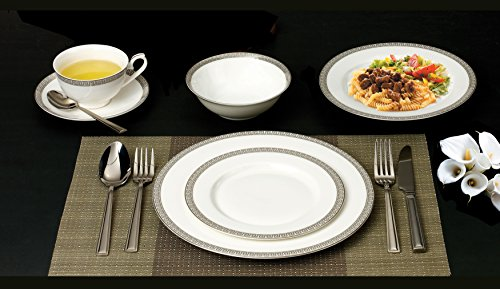 Lorenzo 57 Piece Elegant Bone China Service for 8 Evelyn Dinnerware Sets, Silver by Lorren Home Trends