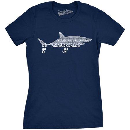 Women's Dun Dun Dun Cool Graphic Shark T Shirt Great White Jaws Ladies Fish Tee