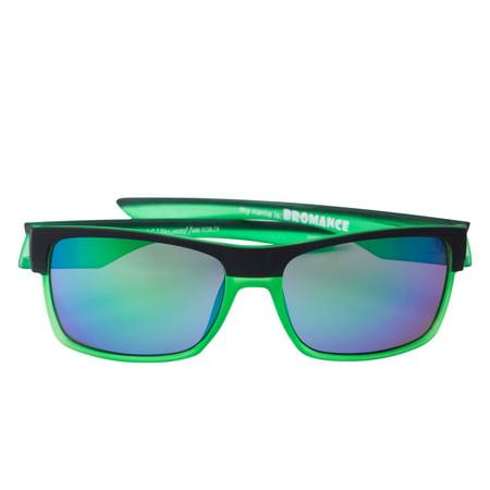 Scin Hiss Polarized Sunglasses (BLACK-XTAL NEON GREEN RB / GREY LENS GREEN REVO FM)