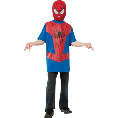 Boys Spiderman The Amazing Spider-Man T-Shirt And Mask Costume