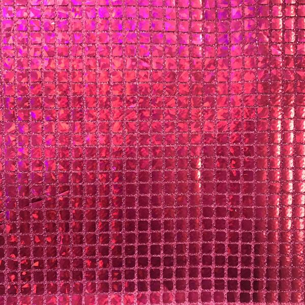 "Hologram Square Sequins Fabric 8mm for Decoration and Crafts 44/45"" Wide By The Yard (Silver)"