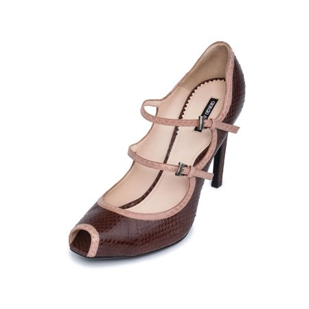 e8efb1f79d Giorgio Armani - Giorgio Armani Women Brown Snake Leather Peep Toe ...