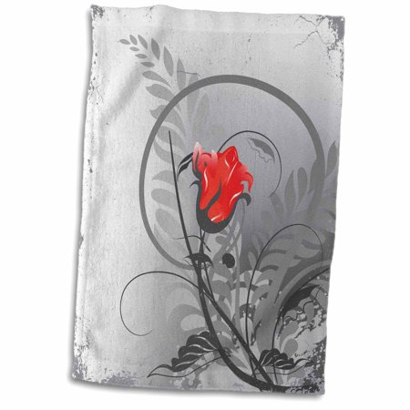 3dRose Lovely Single Red Rose Bud On Grey Grunge Background - Towel, 15 by 22-inch