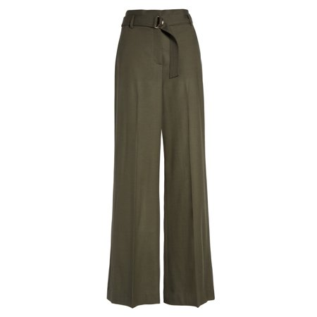 Belted Textured Wool Blend - Lewit Women's 14X34 Belted Dress Pants Wool Stretch