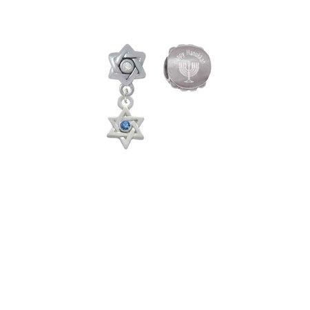 Silvertone Mini Star of David with Blue Crystal Happy Hanukkah Charm Beads (Set of 2) Crystal Blue Mini Set