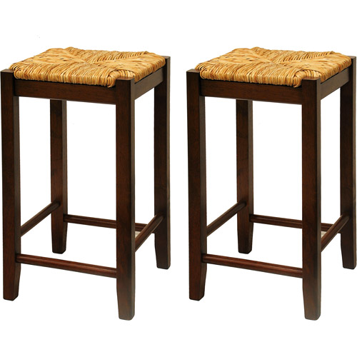 "Rush Seat Counter Stools 24"", Set of 2, Antique Walnut"