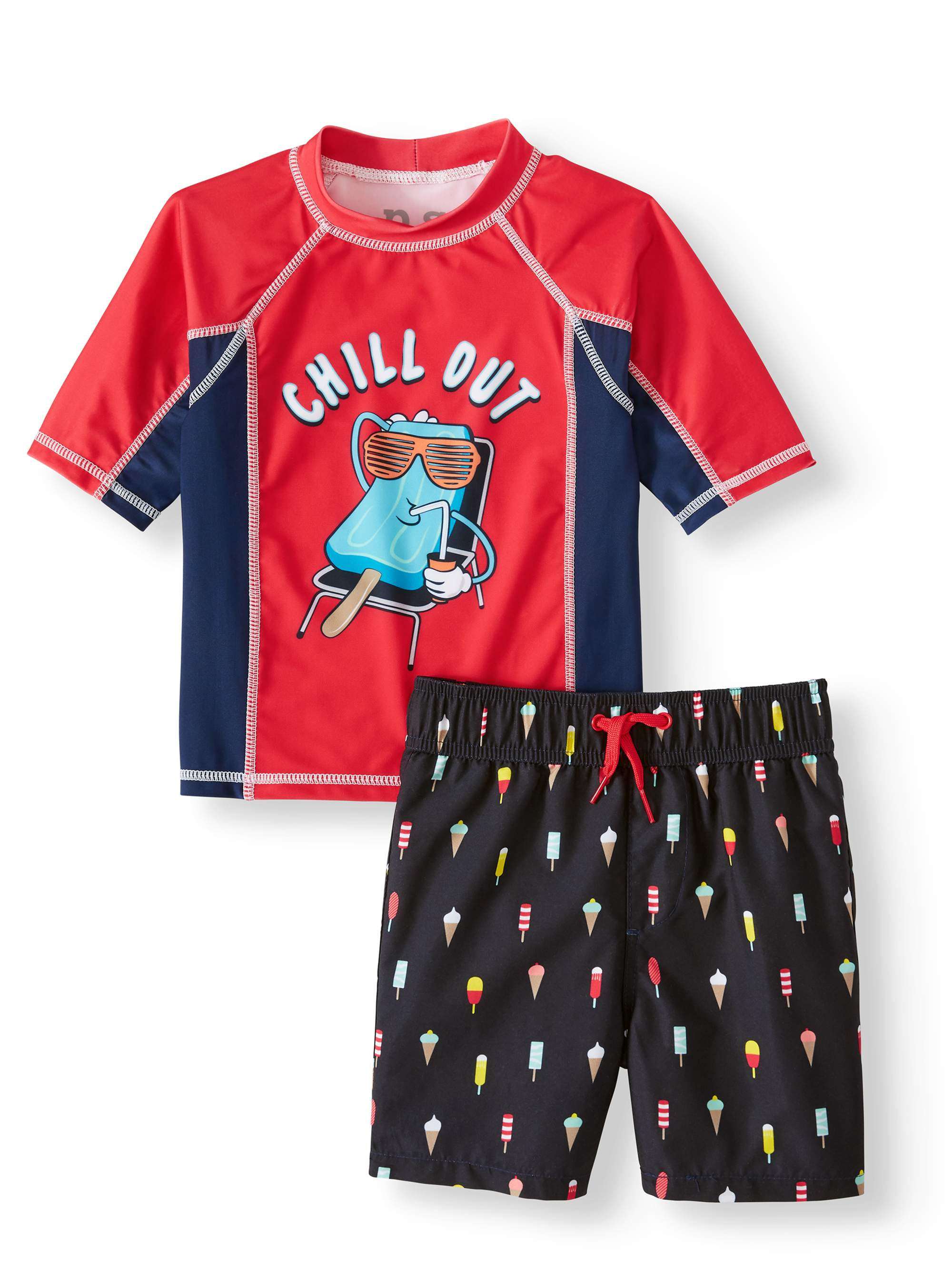 Popsicle Print Rash Guard and Swim Trunk, 2-Piece Outfit Set (Little Boys)