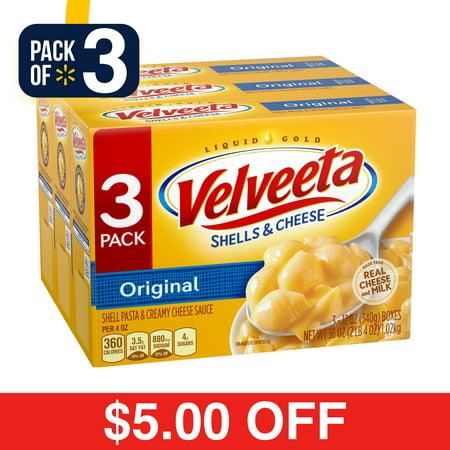 (3 Pack) Velveeta Original Shells & Cheese, 3 ct - 36.0 oz
