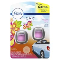 Febreze Car Air Freshener Vent Clips with Gain Scent, Island Fresh, 2 Count