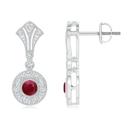 July Birthstone Earrings - Bezel-Set Ruby Halo Dangle Earrings with Kite-Shaped Motif in 14K White Gold (3.5mm Ruby) - SE1520RD-WG-A-3.5