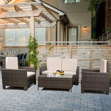 Outdoor Patio Sofa Set Sectional Furniture PE Wicker Rattan Deck Couch Sofa 4 PCS with Beige Cushions