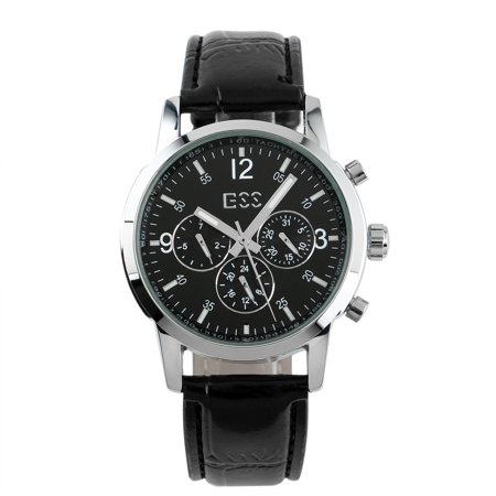 ESS Automatic Mens Wrist Watch Six Hands Self-winding Silver Case Black Dial