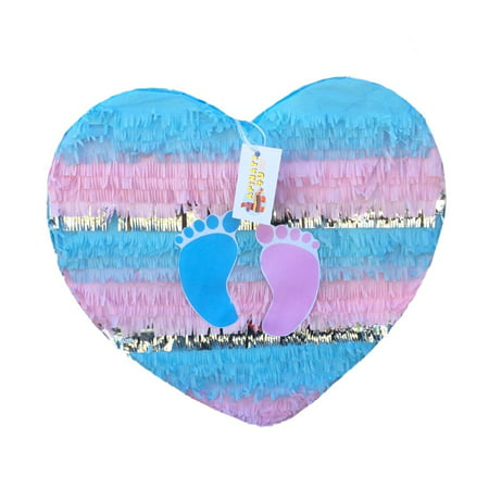 Striped Heart Gender Reveal Pull-String Pinata with Footprints, Pink & Blue, 20in x 20in - Baby Reveal Pinata