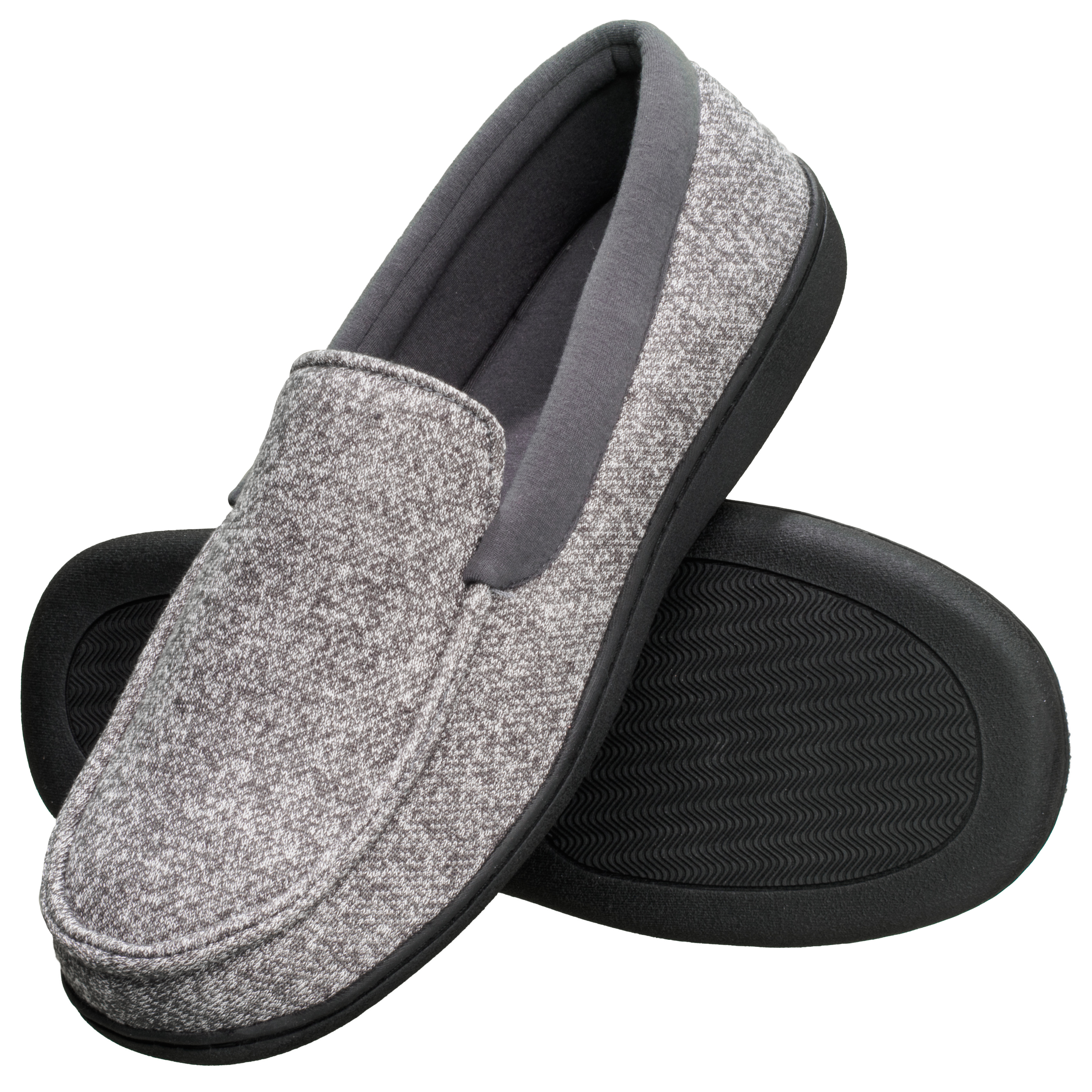 Mens Slippers House Shoes Black Corduroy Moccasin Slip On Indoor Outdoor Comfort