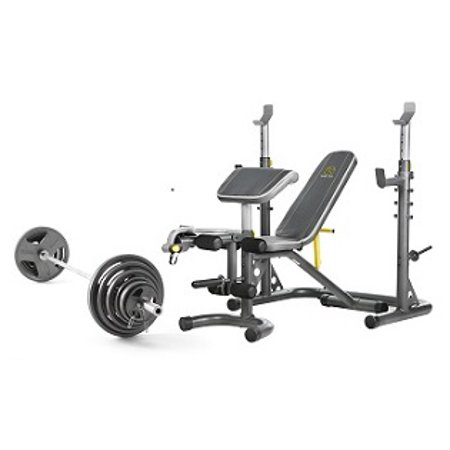 Weider Cast Iron Olympic Hammertone Weight Set, 210 Lb and Golds Gym XRS 20 Olympic Workout Bench with Squat