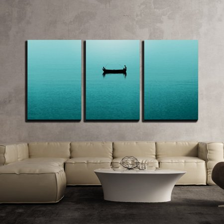 wall26 - 3 Piece Canvas Wall Art - Two Persons Fishing in a Boat on Blue Sea - Modern Home Decor Stretched and Framed Ready to Hang - 24