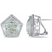 23-1/4 Carat T.G.W. Green Amethyst and White Topaz Sterling Silver Pentagon Clip-Back Earrings