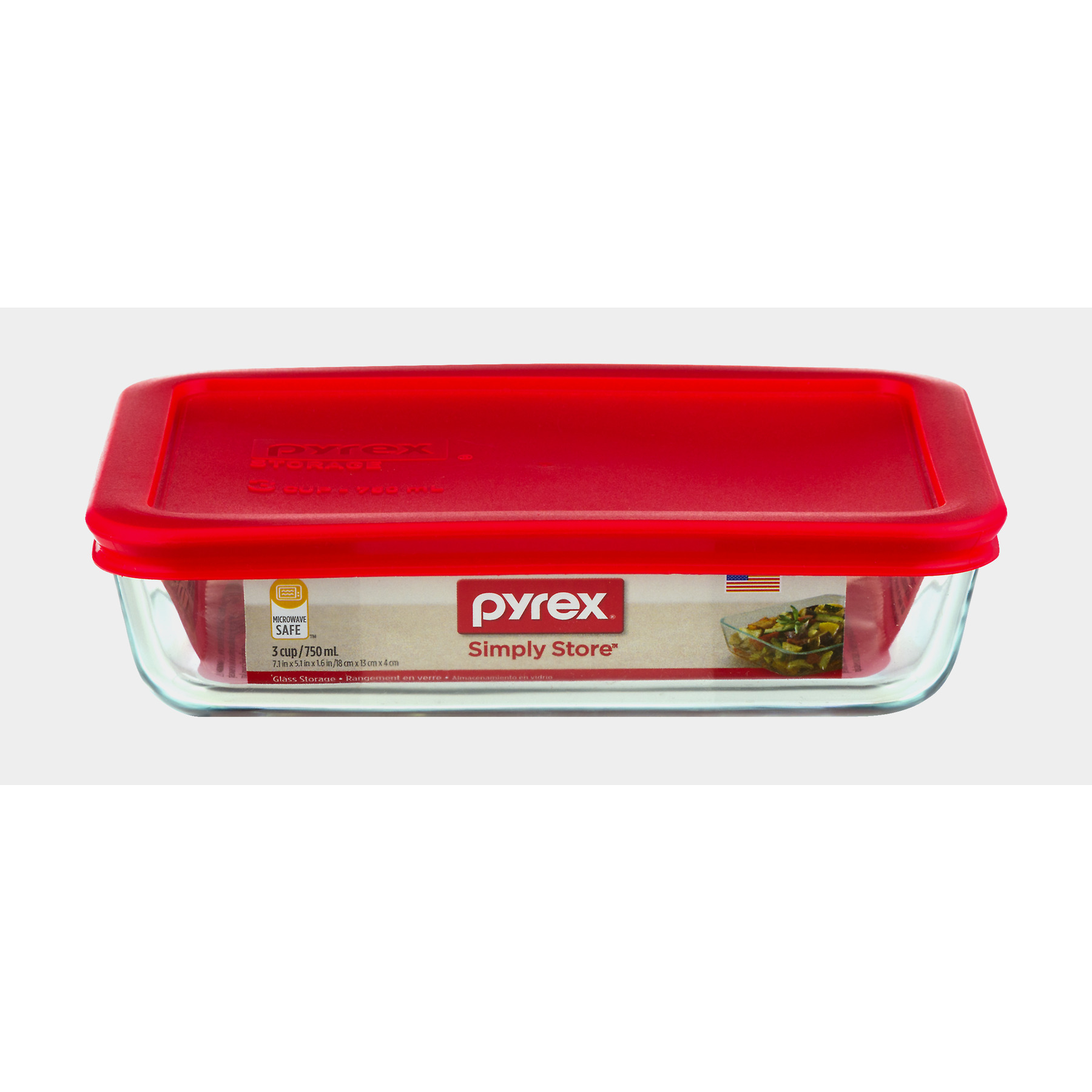 Pyrex Storage Plus 3 Cup Rectangle Glass Storage Set with Red
