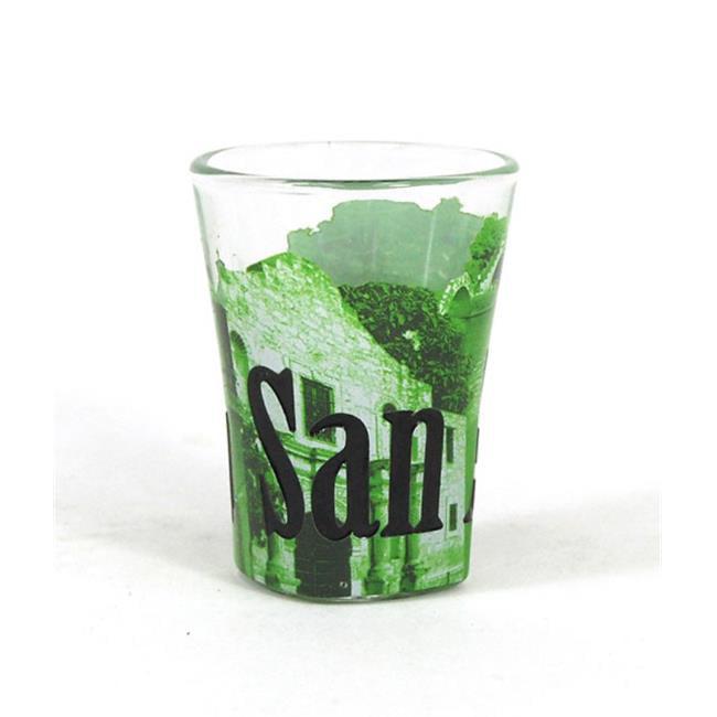 Americaware SGSAT01 San Antonio Duo Tone Etched Shot Glass