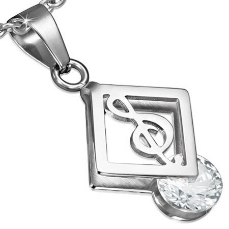 Stainless Steel Silver-Tone Music Musical Clef Note White CZ Pendant Necklace