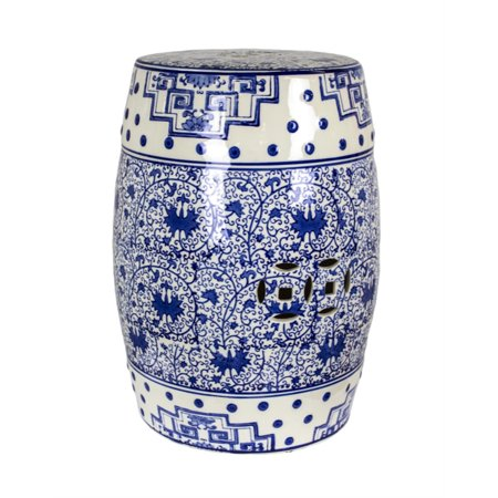 Image of Benzara Intriguing Patterned Ceramic Garden Stool, Blue And White