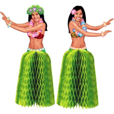 Hawaiian Luau Hula Girl Mini Honeycomb Centerpieces (2ct)