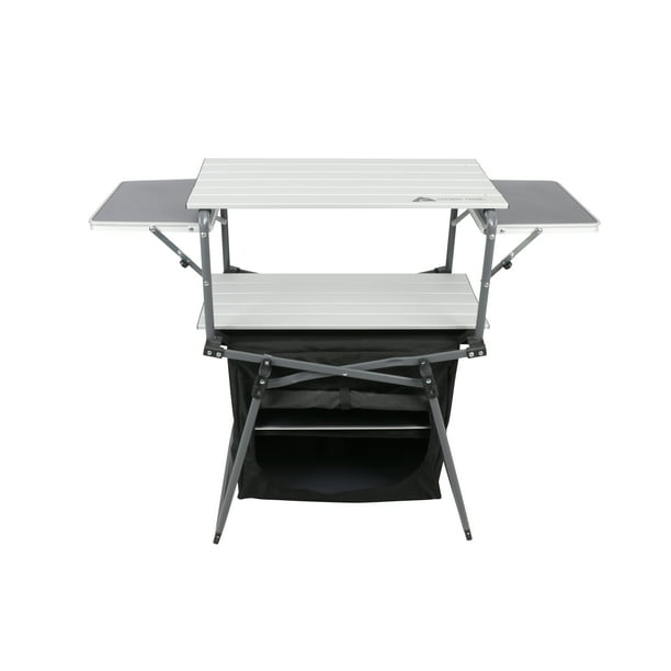 Ozark Trail Outdoor Camp Kitchen With Four Table Tops Black Walmart Com Walmart Com