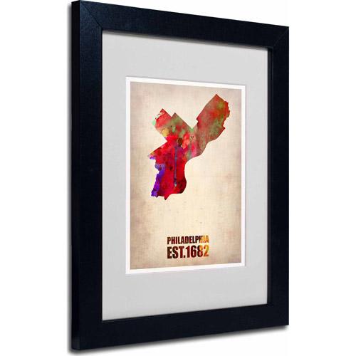 """Trademark Fine Art """"Philadelphia Watercolor Map"""" Matted Framed Art by Naxart, Black Frame"""