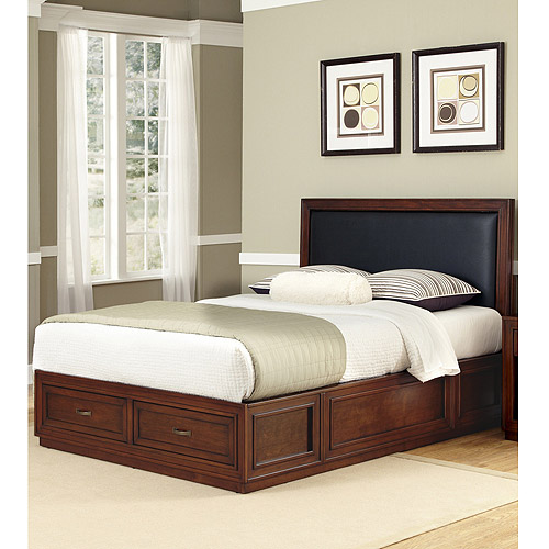 Home Styles Duet Platform King Panel Bed with Black Leather Inset, Rustic Cherry