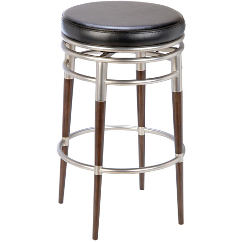 "Hillsdale Furniture Salem 26"" Backless Swivel Counter Stool, Brushed Chrome/Dark Brown"