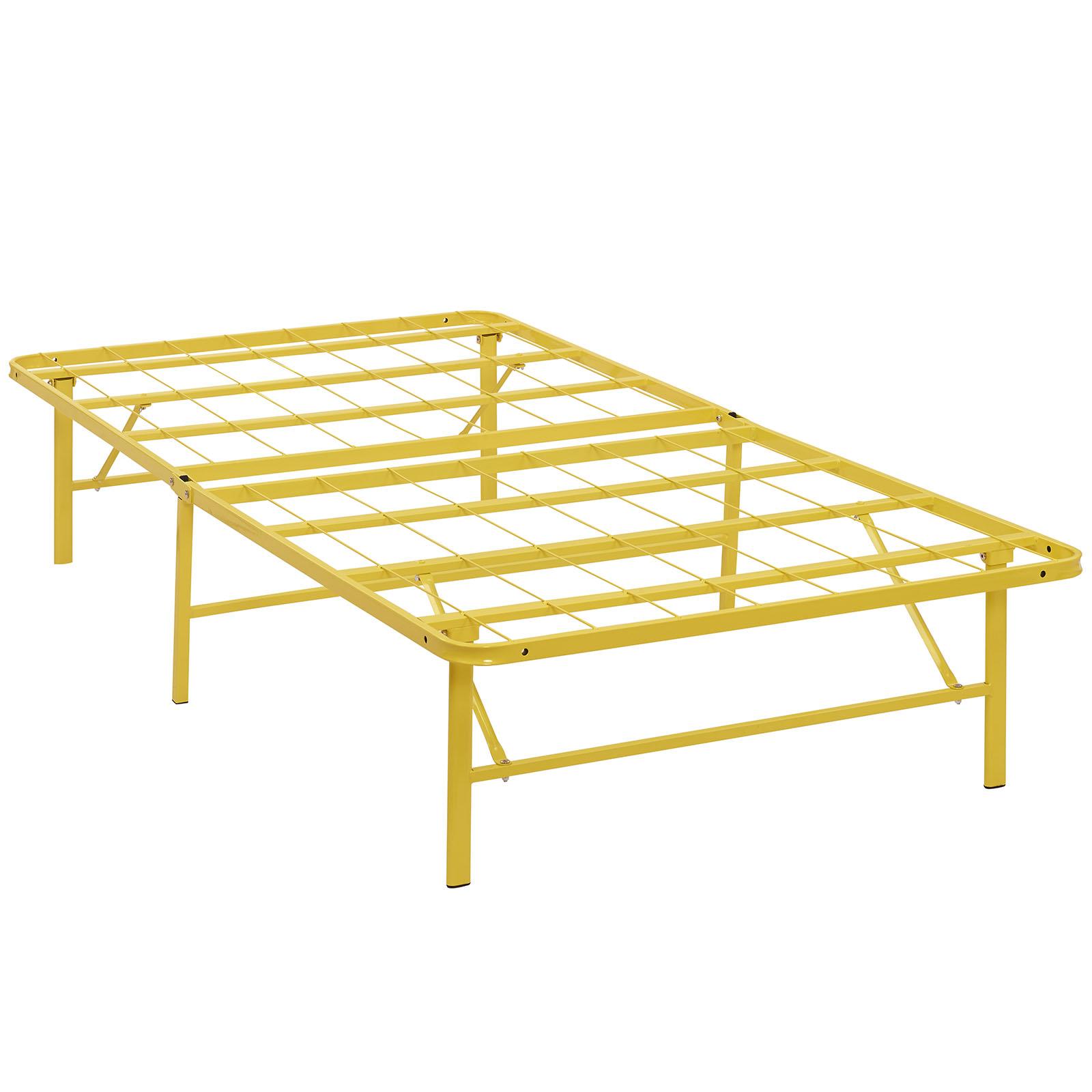 Modern Contemporary Urban Design Bedroom Twin Size Platform Bed Frame, Yellow, Metal Steel