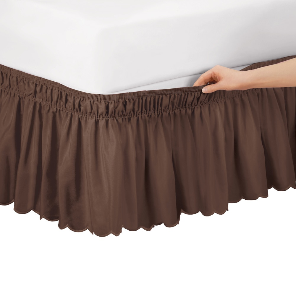 Scalloped Elastic Bed Wrap Around, Easy Fit, Dust Ruffle Bedskirt, Queen/King, Chocolate