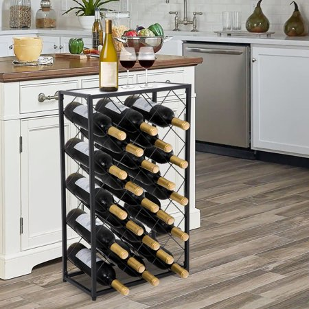 Zeny 23 Bottle Black Steel Wine Rack Table with Glass Top Free Standing Floor Wine Organizer Display Rack Wine Storage Shelves ()