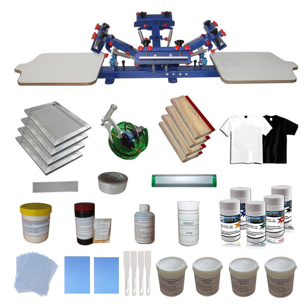 Techtongda 4 Color Screen Printing Press with Materials Starter Screen Printing Kit #006937