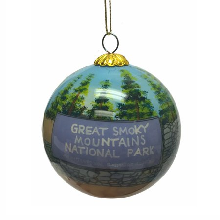 - Great Smoky Mountains National Park Reverse Painted Glass Christmas Ornament