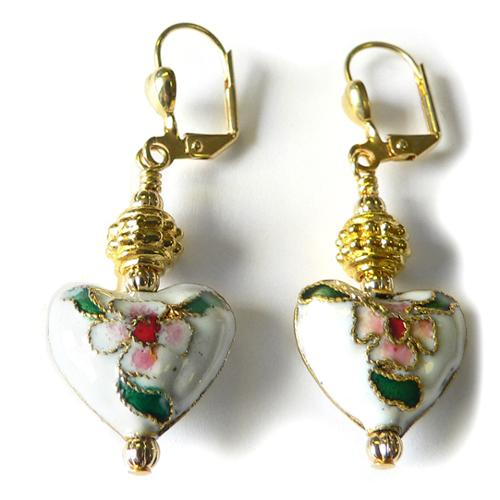 Palmtree Gems  'Vanessa' Cloisonne Heart Dangle Earrings