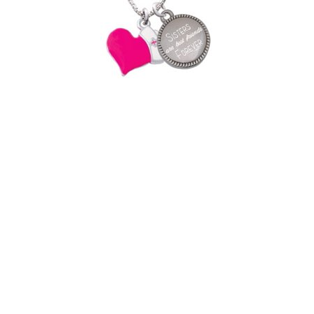Silvertone Hot Pink Heart with Nurse Hat Sisters Are Best Friends Forever Engraved