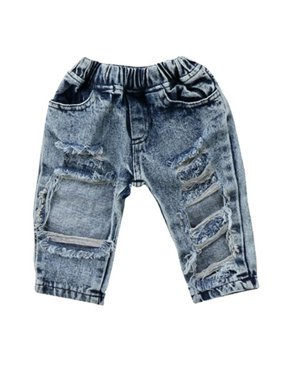 Newborn Baby Girl Ripped Hole Jeans Long Denim Pants Trouser Outfits Clothes