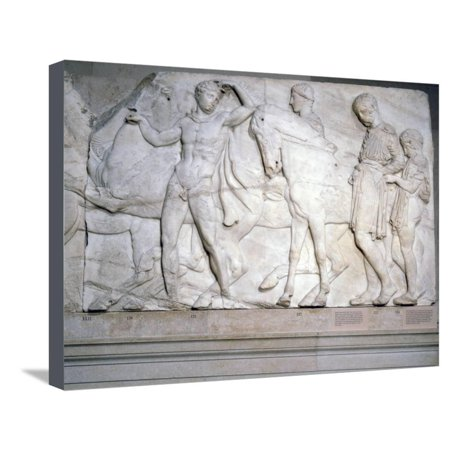 Greek Frieze (Youths ready to mount (slab XLII), from the north frieze of the Parthenon, Greek, c438-432 BC Stretched Canvas Print Wall Art By Werner Forman)