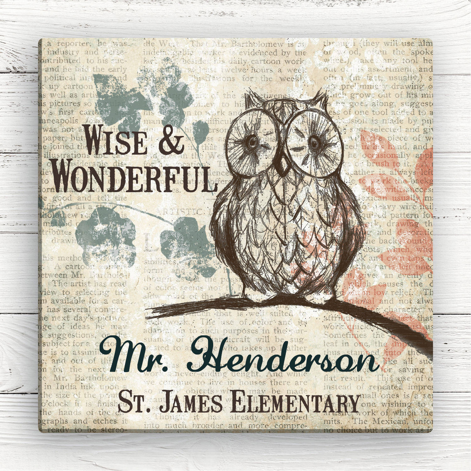 Wise Owl Personalized Teacher Canvas, 12x12