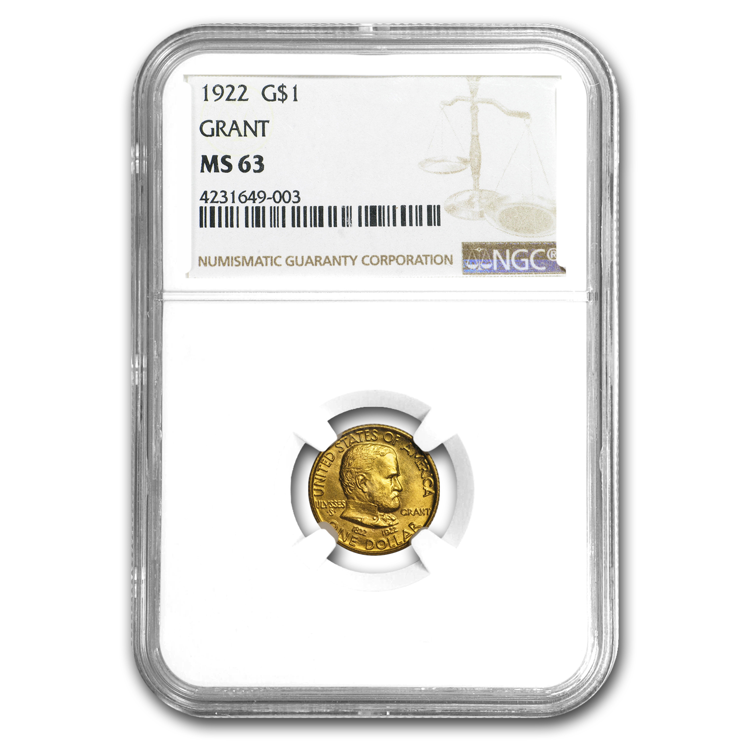 1922 Gold $1.00 Grant No Star MS-63 NGC