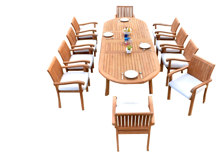 "11 PC A Grade Outdoor Patio Teak Dining Room Set 117"" Double Extension Oval Table & 10 Naples Stacking... by"