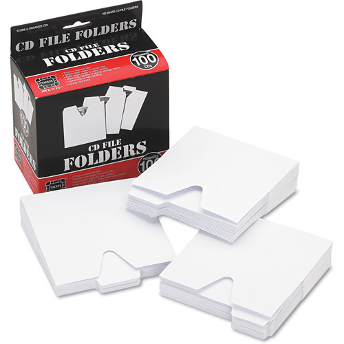 Vaultz CD File Folders, White, 100pk