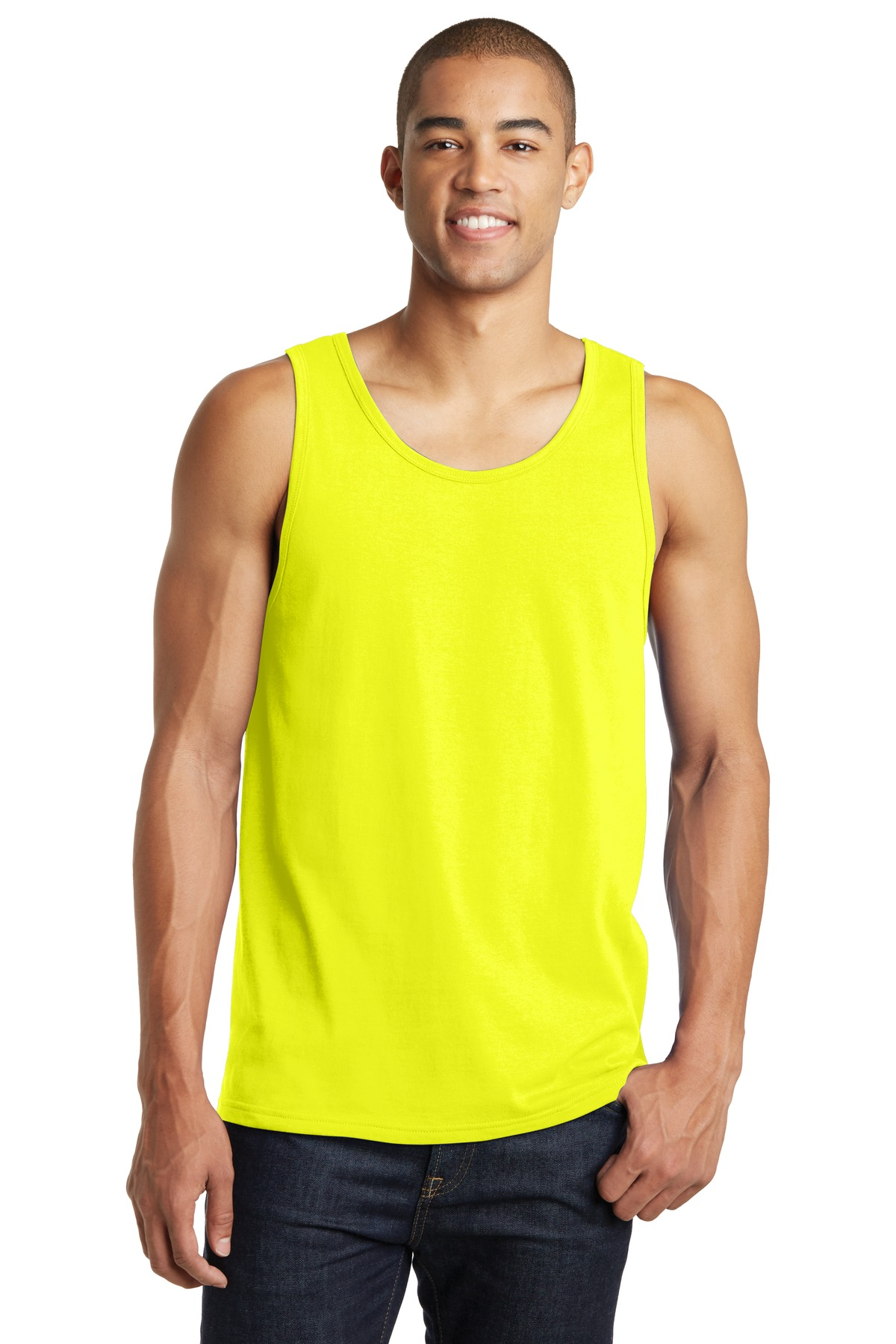 District DT5300 Young Mens Concert Tank Top - White - X-Small
