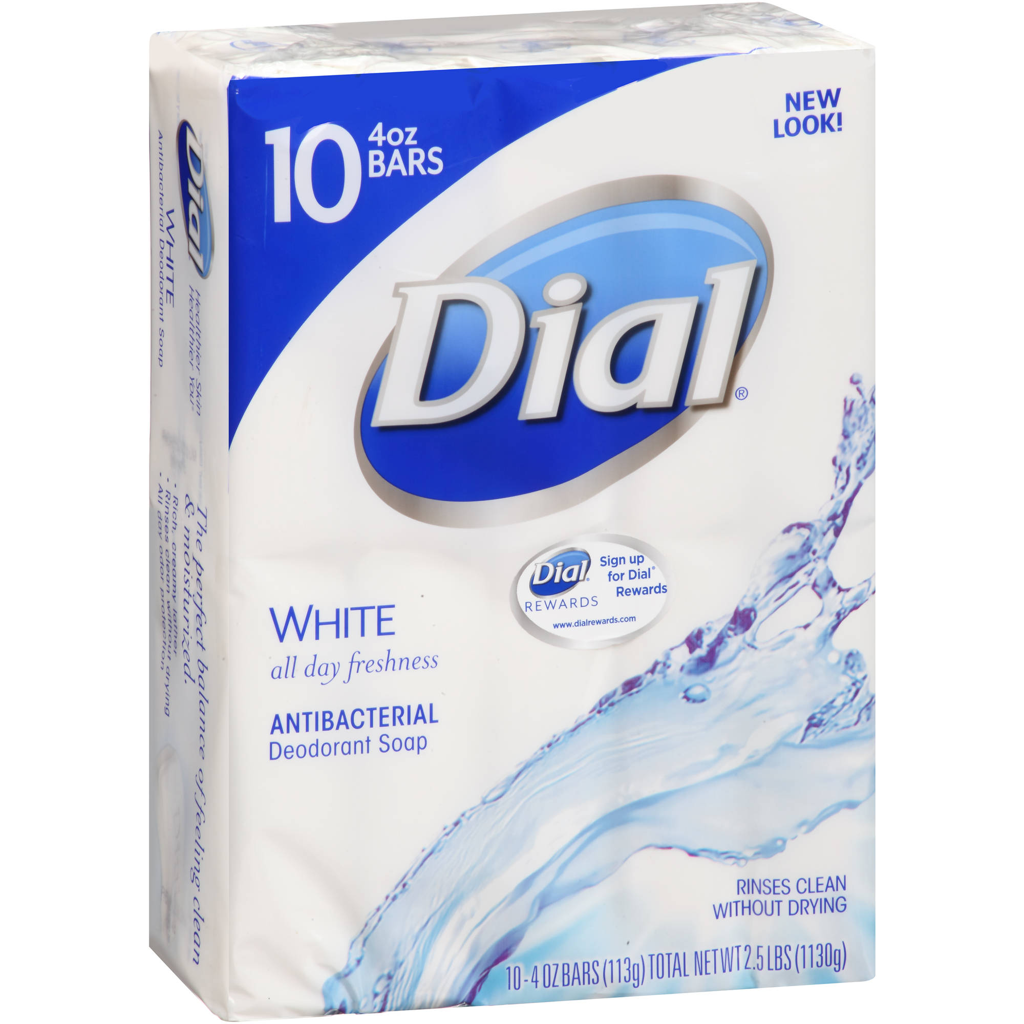 Dial White Antibacterial Deodorant Soap, 4 oz, 10 count